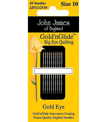 John James Gold 'n Glide Big Eye Quilting Needles - Size 10
