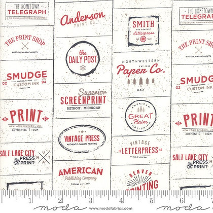 The Print Shop (Cream/Red)- 1/2 meter