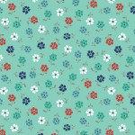 Backyard Blooms - Aqua Tossed Flowers - 1/2 meter