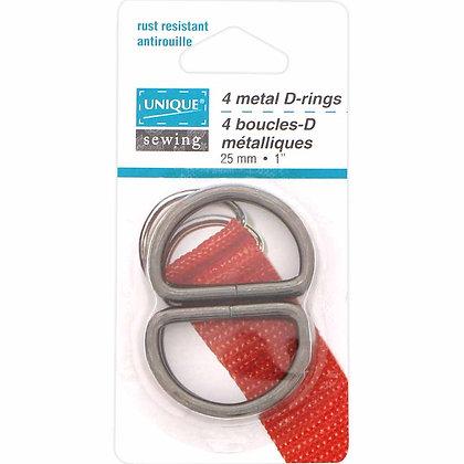"""D-Rings Metal - 1"""" - Gunmetal"""