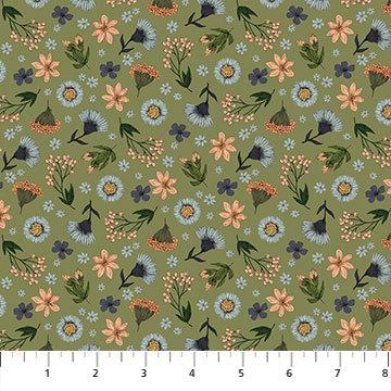 Bee Kind - Floral Toss Green Multi - 1/2 meter