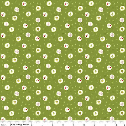 Merry Little Christmas - Ornaments/Green - 1/2 meter