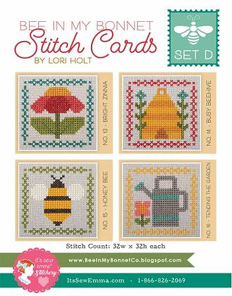 Bee In My Bonnet Stitch Cards - Set D