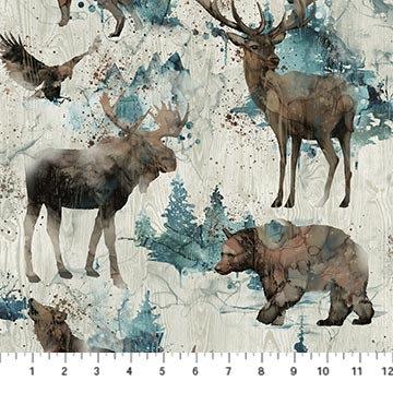 Whispering Pines - Wildlife Beige Multi - 1/2 meter