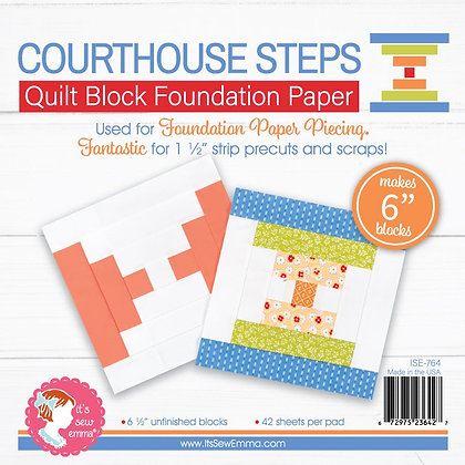 Courthouse Steps Quilt Block Foundation Paper - 6""