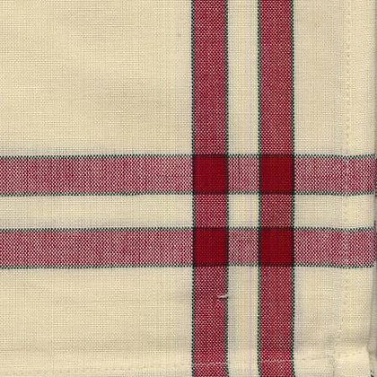 Tea Towel - Cranberry/Cream with Green Stripe