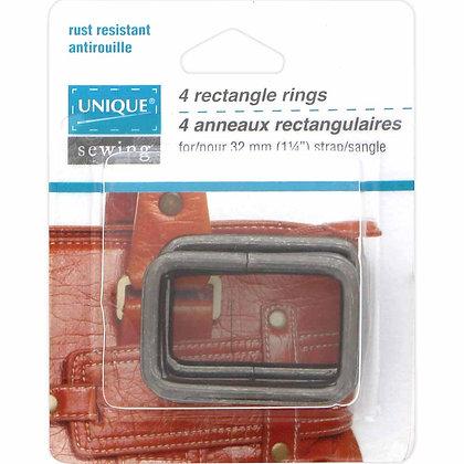 "Rectangle Rings Gunmetal - 1-1/4"""""
