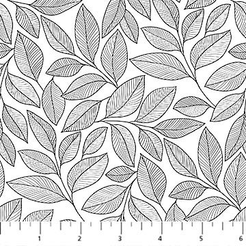 Simply Neutral 2 - Large Leaf Toss White/Black- 1/2 meter