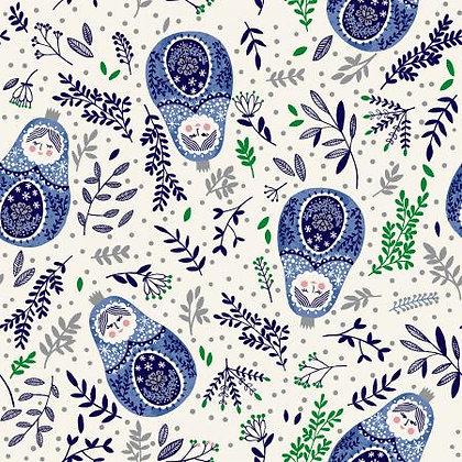 Winter Dreams - Babushka Dolls Royal Blue - 1/2 meter