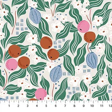 A Life in Pattern - Fruit Floral - Gray - 1/2 meter