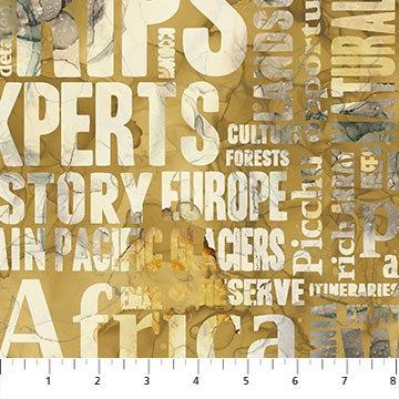 Journey - Large Script Ochre Multi - 1/2 meter