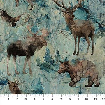 Whispering Pines - Wildlife Teal Multi - 1/2 meter