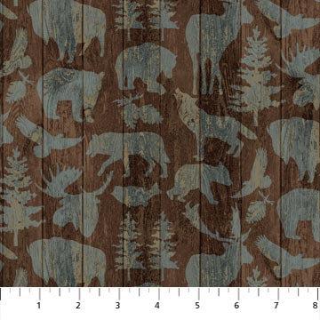 FLANNEL - Outdoor Adventure-Animals on Wood (Brown) - 1/2 meter