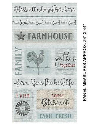 Farm Sweet Farm Panel - Aqua
