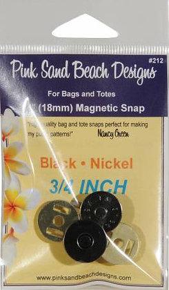 """Magnetic Snap - 3/4"""" (18mm) Black.Nickel"""