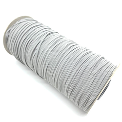 "Elastic - 1/8"" (3mm) - Grey (10m pkg)"
