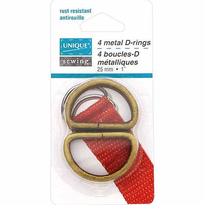 "D-Rings Metal - 1"" - Antique Gold"