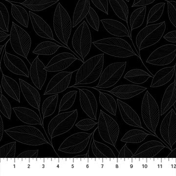 Simply Neutral 2 - Large Leaf Toss Gray/Black- 1/2 meter