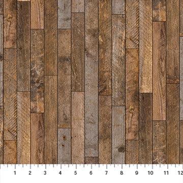 Maverick - Wood Planks Brown Multi - 1/2 meter