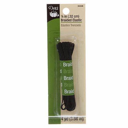 "Braided Elastic - Black - 1/8"""