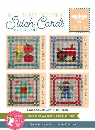 Bee In My Bonnet Stitch Cards - Set B