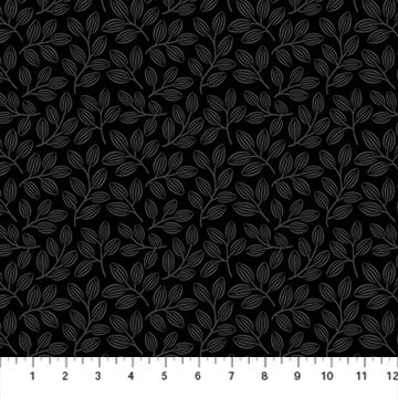 Simply Neutral 2 - Small Leaf Toss Gray/Black- 1/2 meter