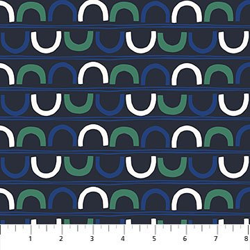 A Life in Pattern - Crescents - Navy - 1/2 meter