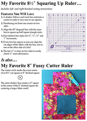 "8-1/2"" Squaring Up Ruler & 8"" Fussy Cutter - Marti Michell"