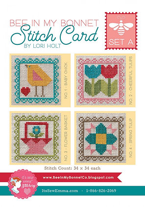 Bee In My Bonnet Stitch Cards - Set A
