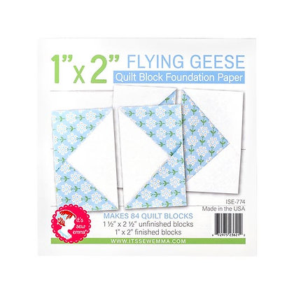 """1"""" x 2"""" Flying Geese Quilt Block Foundation Paper"""