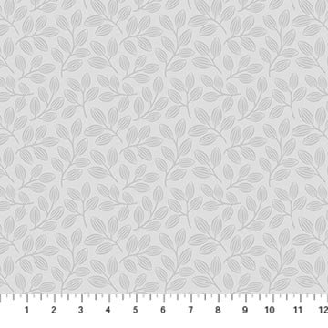 Simply Neutral 2 - Small Leaf Toss Gray - 1/2 meter