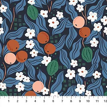 A Life in Pattern - Fruit Floral - Navy - 1/2 meter