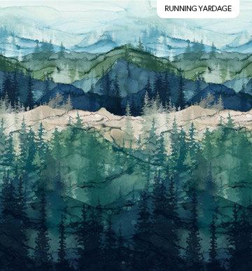 Whispering Pines - Dark Blue Multi - 1/2 meter