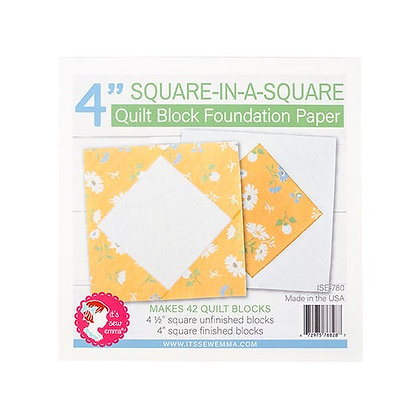 """4"""" Square-In-A-Square Quilt Block Foundation Paper"""