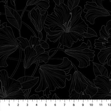 Simply Neutral 2 - Hibiscus Toss Gray/Black- 1/2 meter