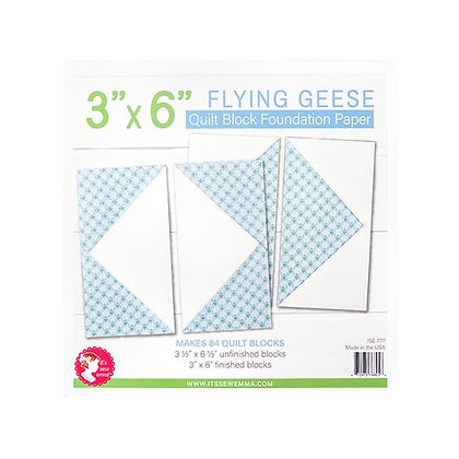 "3"" x 6"" Flying Geese Quilt Block Foundation Paper"