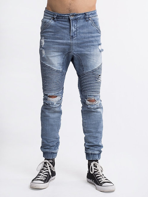 Silent Theory Outlaw Cuffed Jean Motley Blue