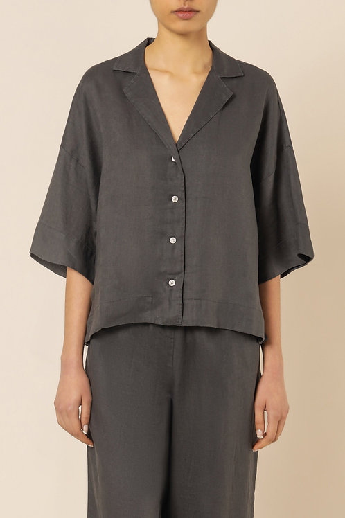 Nude Lucy Lounge Linen Shirt Coal