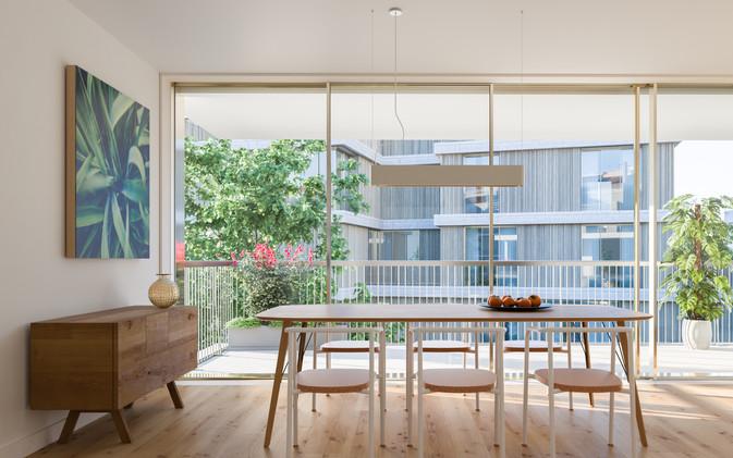 Salle à manger vue terrasse