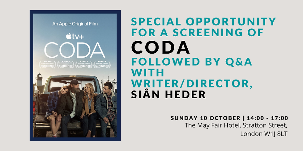Special Opportunity for Screening of CODA followed by Q&A with Writer/Director, Siân Heder