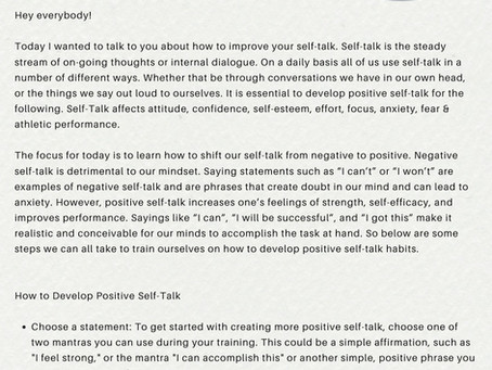 Train Your Brain: Develop Positive Self-Talk