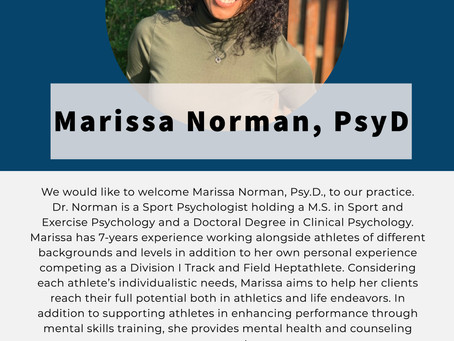 Welcome Marissa Norman, PsyD, to our Performance Team!