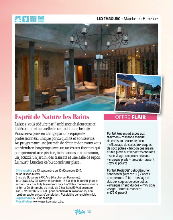 Offre Flair - Esprit de Nature les Bains - Marche-en-Famenne