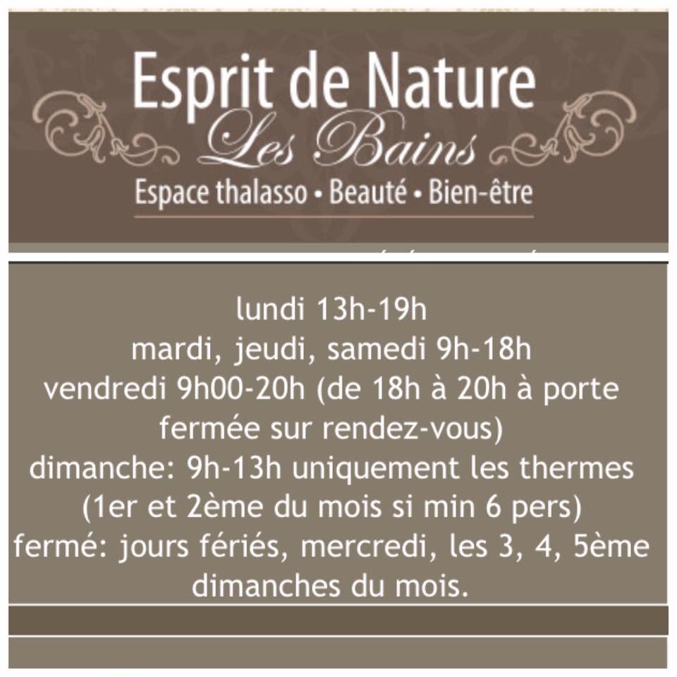 horaire Esprit de Nature les Bains à Marche-en-Famenne