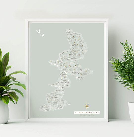 Northumberland National Park Wall Map