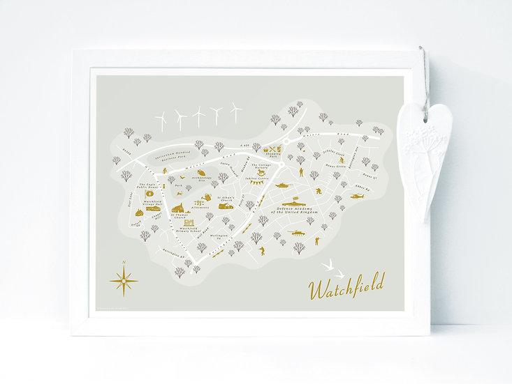 Watchfield Wall Map