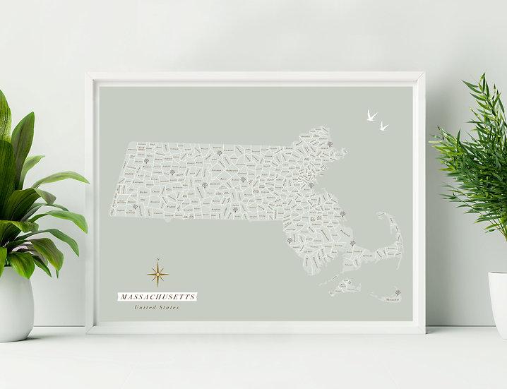 Massachusetts Wall Map