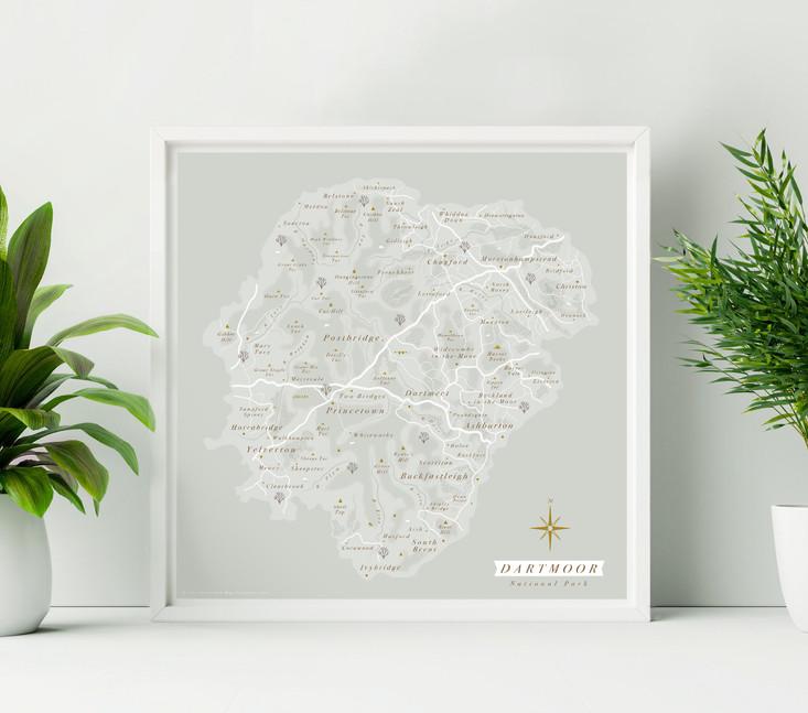 Dartmoor National Park Wall Map