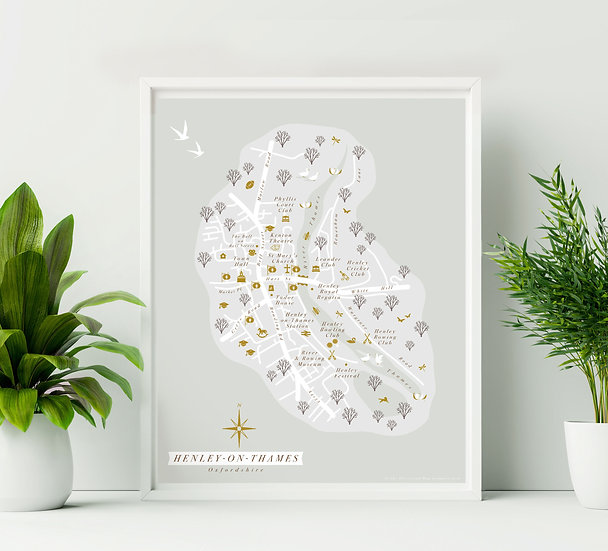 Henley on Thames Wall Map