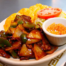 Green Pepper Steak with Green Plaintains (Tostones)
